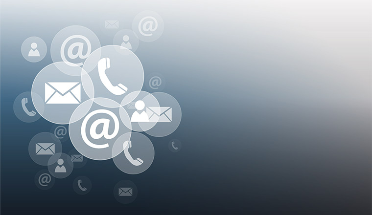 A picture of digital communication icons
