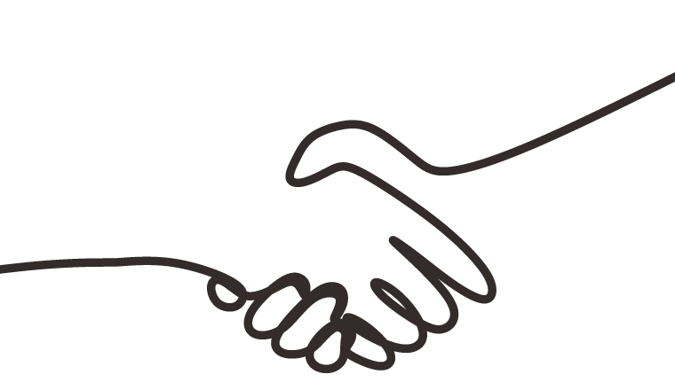 A drawing of a handshake