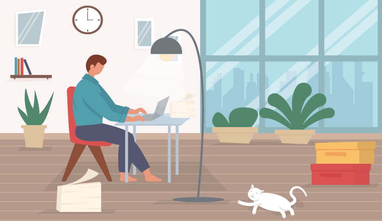 A picture of someone working from home