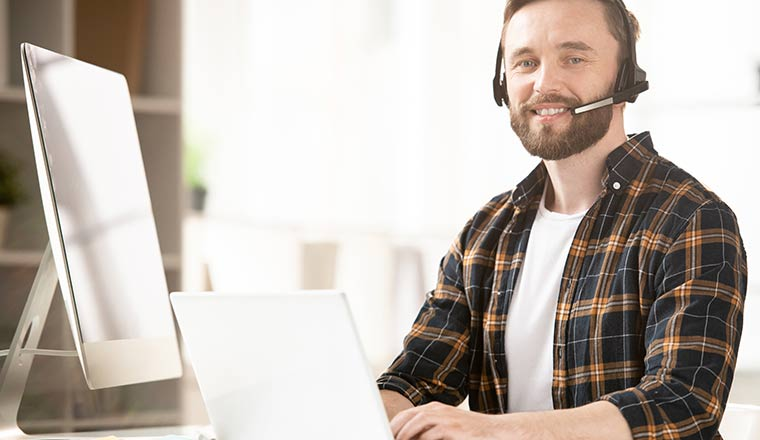 A picture of an agent working remotely