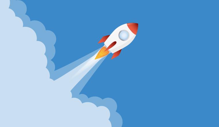 A cartoon of a rocket launch