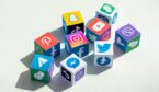 A picture of cubes representing different social media platforms