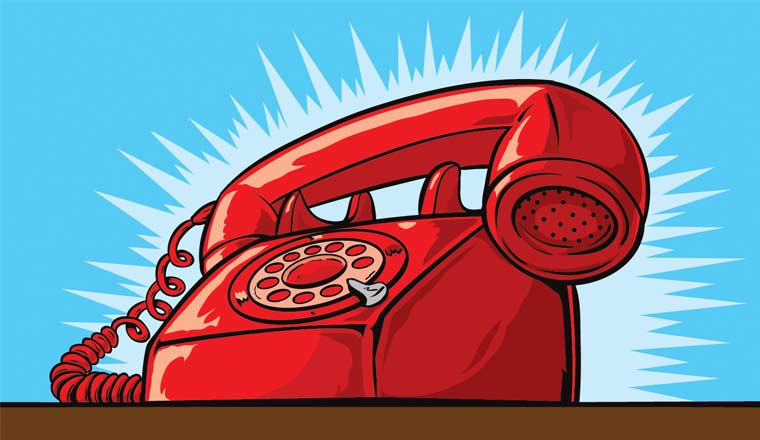 A picture of a telephone ringing