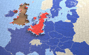 A jigsaw puzzle of europe shows the UK out of place