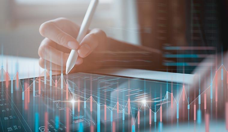 A photo of someone analyzing data