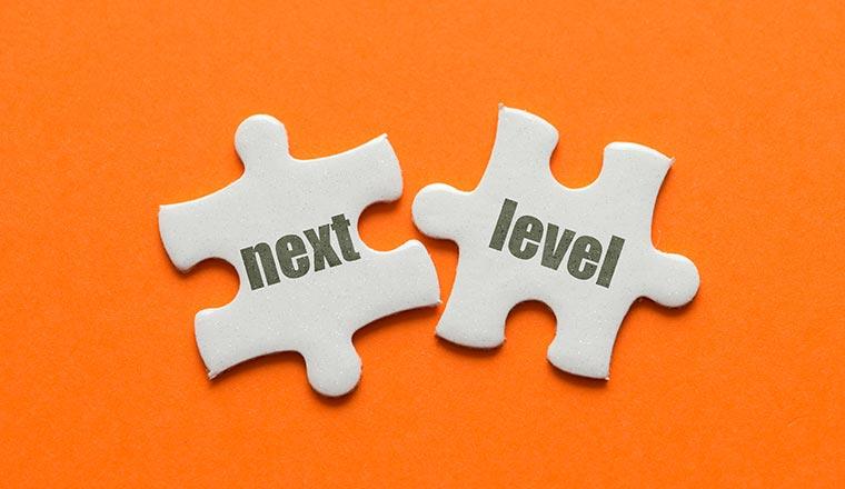 "A photo of ""next level"" puzzle piece"