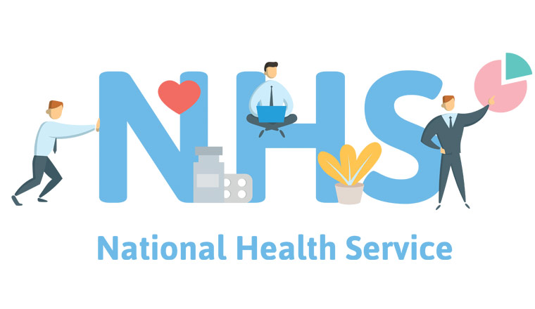 A picture that shows workers and the letters nhs