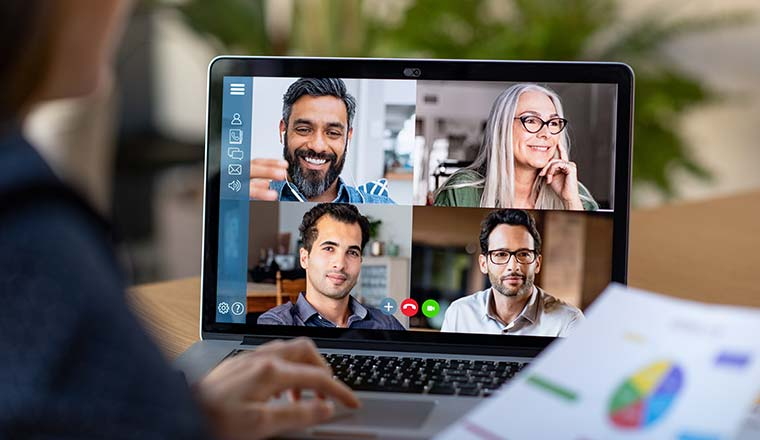 A photo of an online video meeting