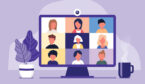 A picture of a video call with multiple people