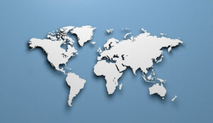 A world map that's silver and blue
