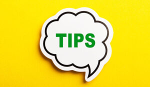 A picture of a speech bubble with the word Tips