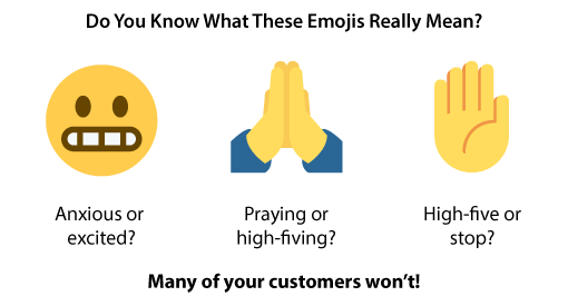 A chart showing what certain emojis mean