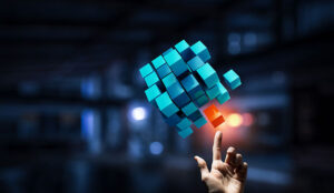 A picture of cubes merging together