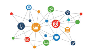 A picture of integrated icons for social media and networks