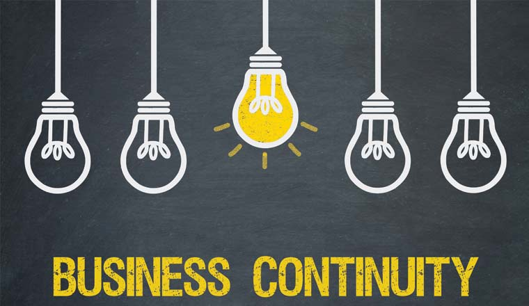 A picture of light bulbs and the words business continuity