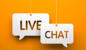 A picture of the words live chat in speech bubbles