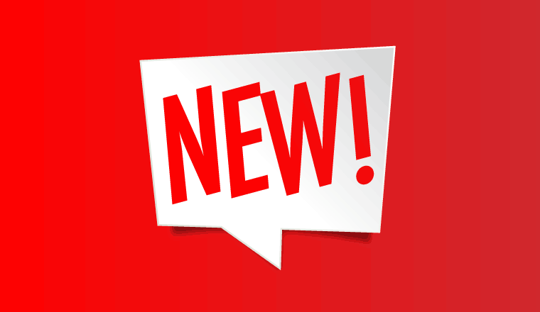 "A picture of the word ""new!"" is a speech bubble"