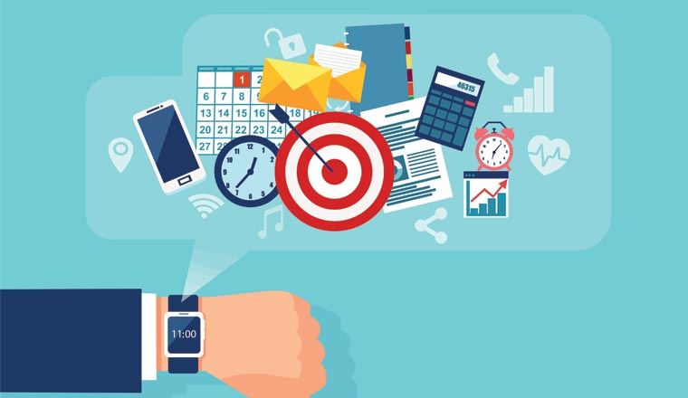 A picture of office icons and targets