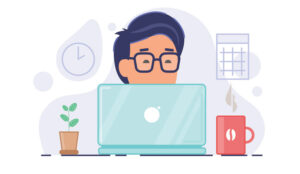 A picture of a person working at home on laptop