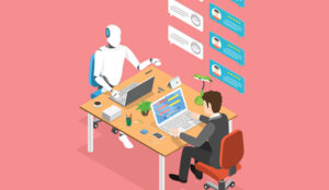 A picture of a robot sat at a desk talking to an agent