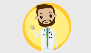 A picture of a cartoon doctor