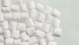 A photo of white marshmallows