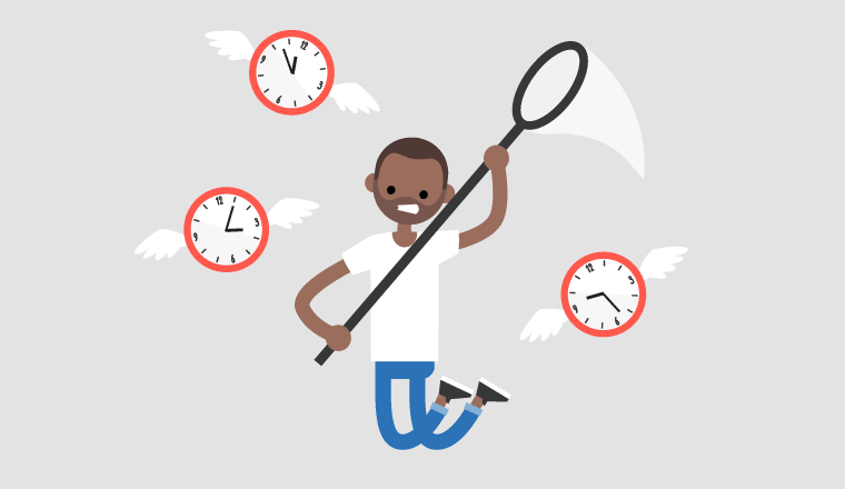 A picture of someone trying to catch clocks (schedule adherence concept)