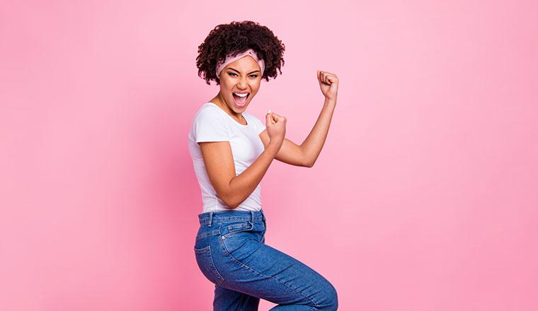 A photo of someone making a celebration pose