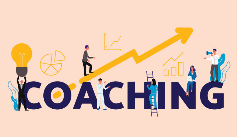 A picture of the words coaching with an arrow