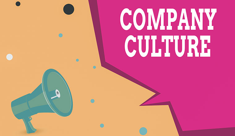 "A picture of a megaphone that says ""company culture"""