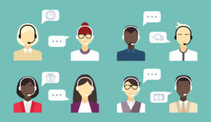 A picture of agents with speech bubbles providing technical support