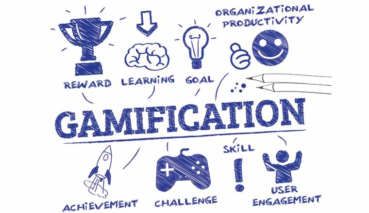 A picture of the word gamification and game icons