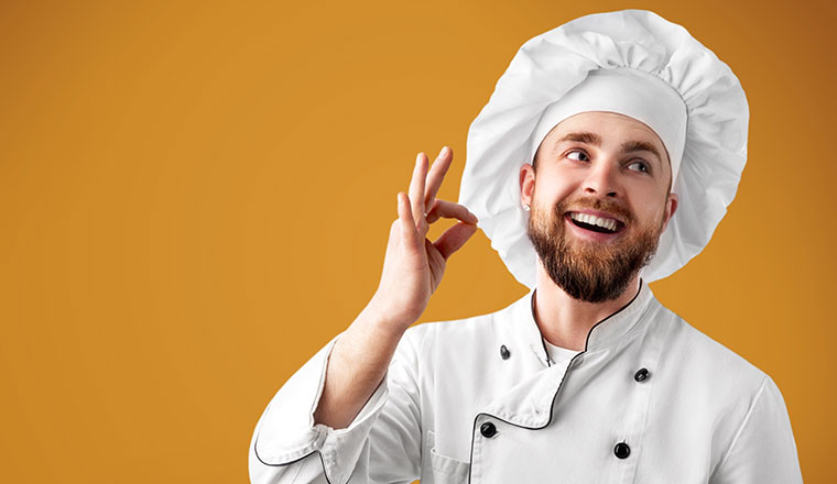 A picture of a happy chef