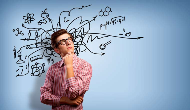 A picture of a person thinking with sketched ideas in the background