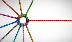 A picture of colored pieces of integrated rope