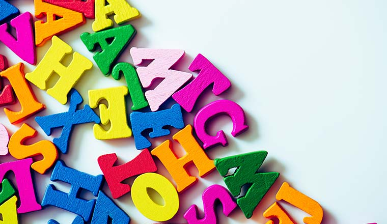 A picture of English language letters