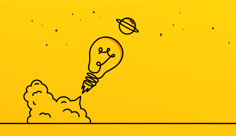 A picture of a light bulb launching (idea concept)