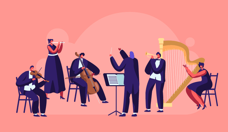 A picture of an orchestra