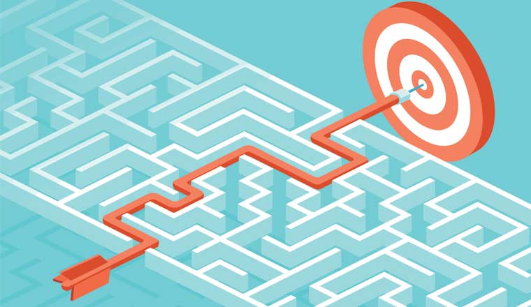 A picture of a maze and a target