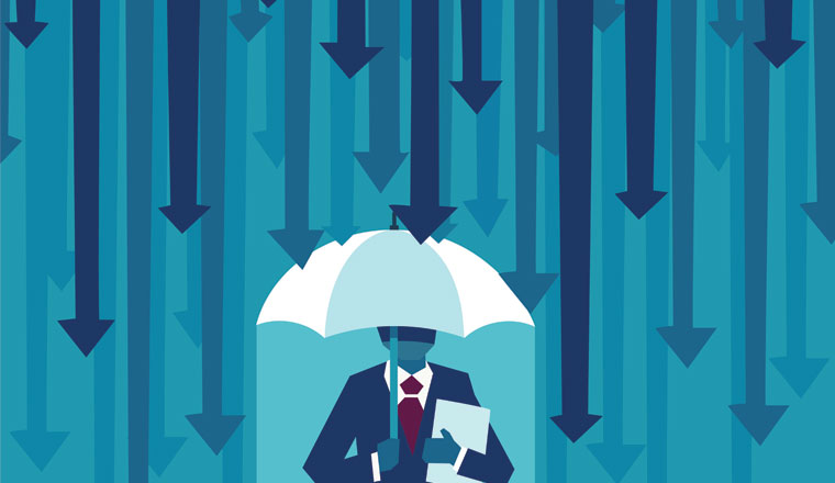A picture of an agent under falling arrows