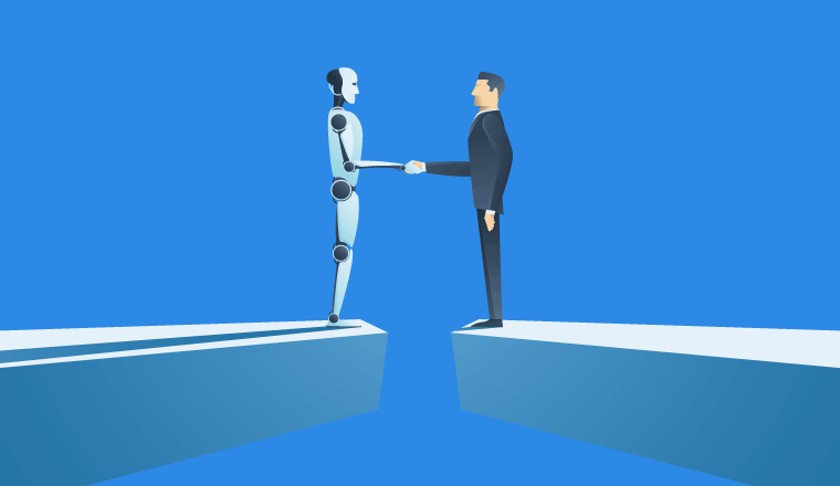 A picture of a businessman and robot meeting on a bridge