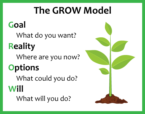 A picture outlining the GROW coaching model