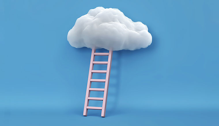 A picture of a ladder going-up-into-a-cloud