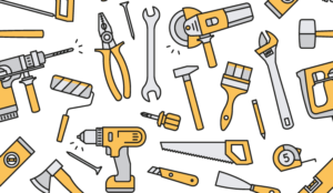 A picture of tools in a wallpaper style