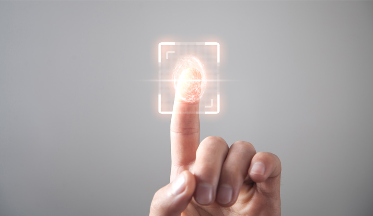 A picture of a Biometric concept of a finger print