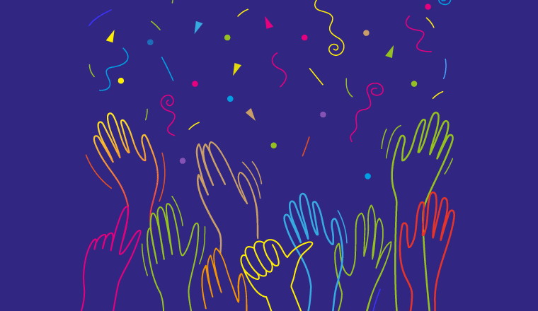 A picture of hands and confetti