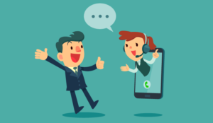 A cartoon of a happy person in a phone - IVR concept