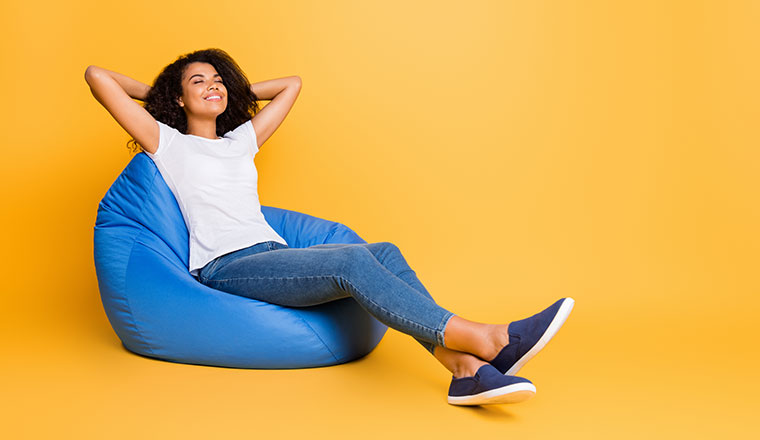 A photo of a stress-free employee relaxing