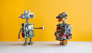 A photo of robots passing tools for automation
