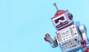 A photo of a robot representing a chatbot